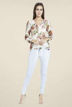 Globus Off White Floral Print Top - Mp000000000728052