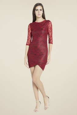 Globus Maroon Lace Dress