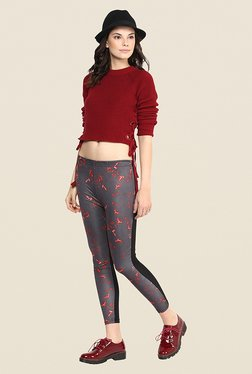 Yepme Ellise Grey Printed Crop Leggings