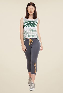 Yepme Nelly Green & White Printed T Shirt