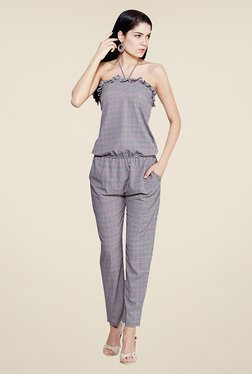 Yepme Elisha Black & Red Checks Jumpsuit