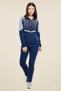 Yepme Andriee Navy & Grey Printed Track Suit
