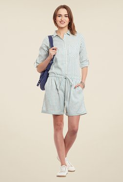 Yepme Ariana Blue Checks Playsuit