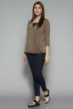 Gia by Westside Brown Textured Wendy Top