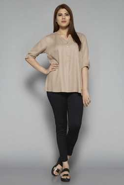 Gia by Westside Beige Solid Blouse