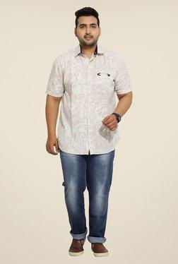 John Pride Beige Floral Print Shirt