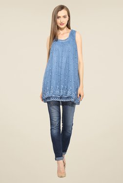 Free & Young Blue Embroidered Tunic