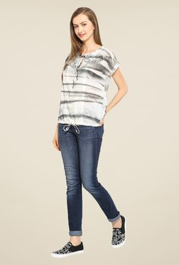 Free & Young Off White & Grey Lace Top