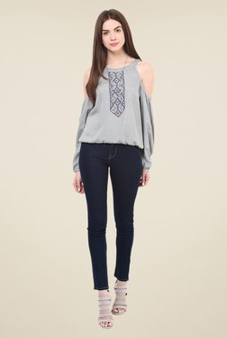 Free & Young Grey Embroidered Top