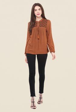 Free & Young Brown Embroidered Top