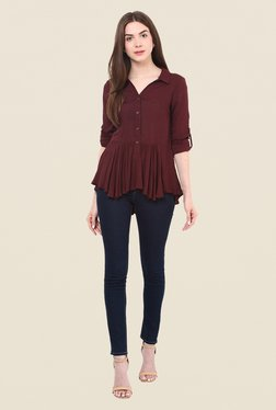 Free & Young Maroon Solid Top