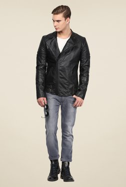Mago Black Solid Biker Jacket