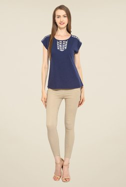 Free & Young Navy Embroidered Top