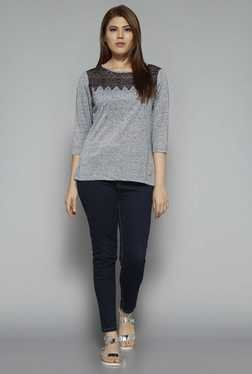 Gia by Westside Grey Textured Top