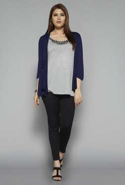 Gia by Westside Navy & Grey Victoria Top
