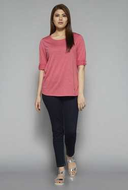 Gia by Westside Pink Textured Janet T Shirt