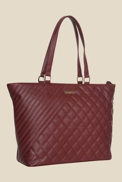 Addons Maroon Quilted Tote Bag