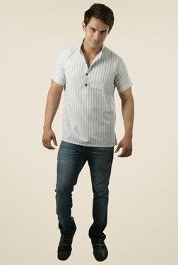Abhiyuthan White And Grey Striped Cotton Kurta