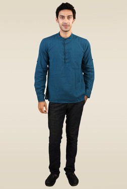 Abhiyuthan Blue Solid Full Sleeves Kurta