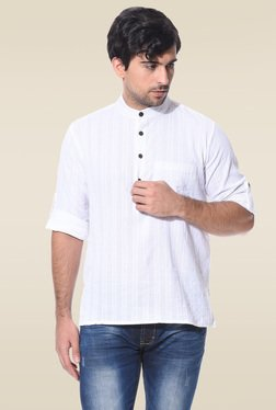 Abhiyuthan White Jacquard Full Sleeves Kurta