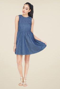 Cottonworld Blue Printed Dress