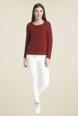 Vero Moda Maroon Regular Fit Sweatshirt