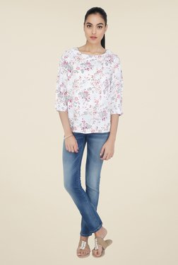 Cottonworld Off White Floral Print Top