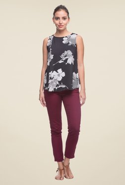 Cottonworld Black Floral Print Top