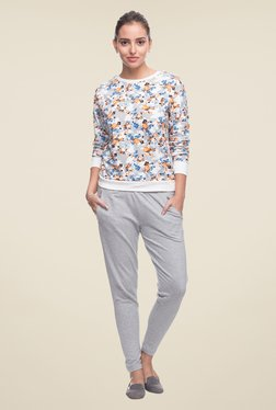 Cottonworld Grey Floral Print Top