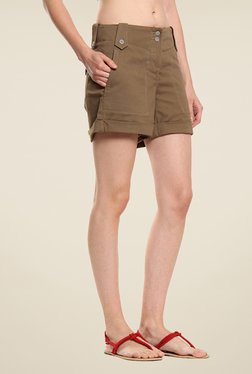 Cottonworld Brown Solid Shorts