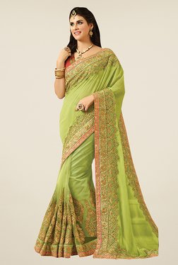 Triveni Green Embroidered Net Viscose Saree