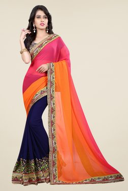 Triveni Navy & Pink Embroidered Faux Georgette Chiffon Saree