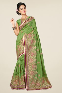 Triveni Green Embroidered Bhagalpuri Silk Saree