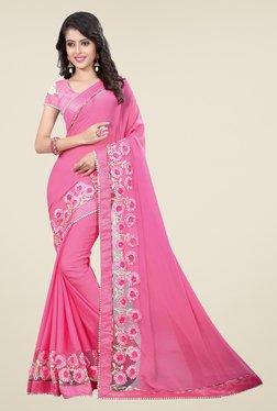 Triveni Pink Solid Faux Chiffon Saree