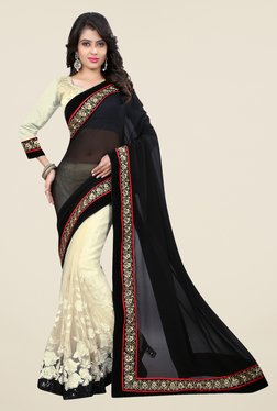 Triveni Cream & Black Embroidered Faux Georgette Net Saree