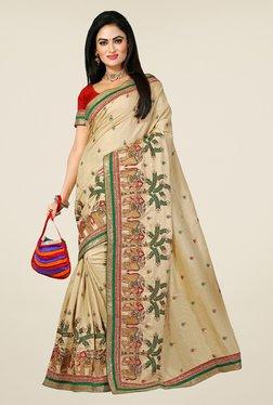 Triveni Beige Embroidered Manipuri Silk Saree