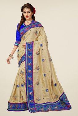 Triveni Cream Embroidered Manipuri Silk Saree