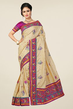 Triveni Cream Embroidered Manipuri Silk Saree