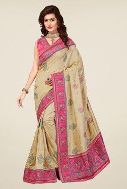Triveni Beige Embroidered Manipuri Silk Saree - Mp000000000742656