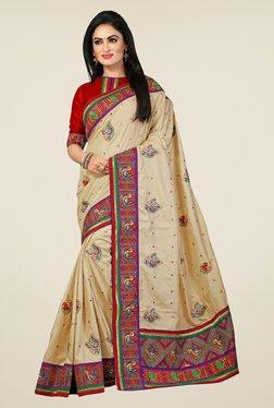 Triveni Beige Embroidered Manipuri Silk Saree - Mp000000000742658