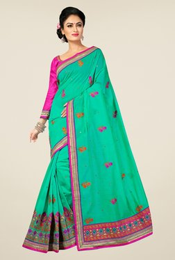 Triveni Green Embroidered Chanderi Silk Saree