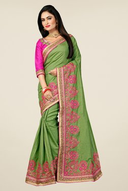 Triveni Green Embroidered Manipuri Silk Saree
