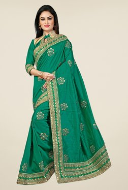 Triveni Green Embroidered Bhagalpuri Silk Saree - Mp000000000742700