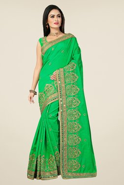 Triveni Green Embroidered Bhagalpuri Silk Saree - Mp000000000742726