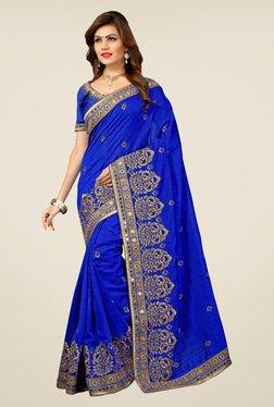 Triveni Blue Embroidered Bhagalpuri Silk Saree