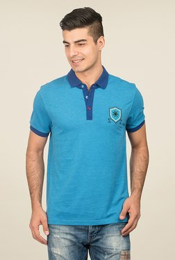 Zeven Blue Solid Polo T Shirt