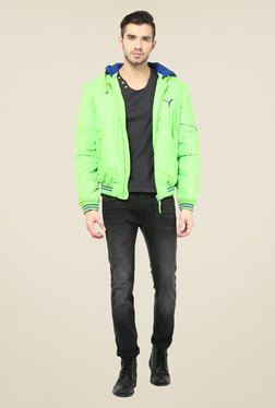 Monteil And Munero Green Solid Hood Jacket