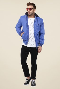 Monteil And Munero Blue Solid Hood Jacket