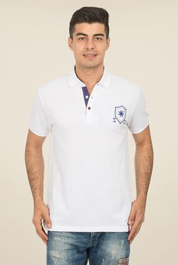 Zeven White Solid Polo T Shirt