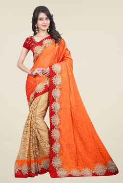 Triveni Beige & Orange Embroidered Art Silk Net Saree
